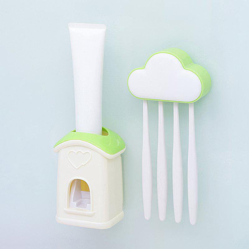 Cloud Cottage Creative Automatic Toothpaste Cartoon Toothbrush Holder Set - MINT GREEN 10X6.3X3.8CM