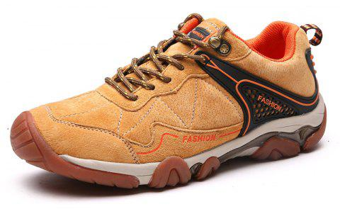 Men's Metal Button Breathable Non-slip Outdoor Sport Hiking Sneakers - BROWN SUGAR 44