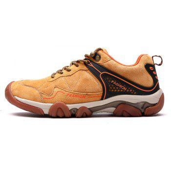 Men's Metal Button Breathable Non-slip Outdoor Sport Hiking Sneakers - BROWN SUGAR 41