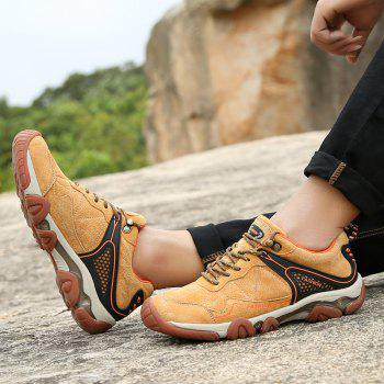 Men's Metal Button Breathable Non-slip Outdoor Sport Hiking Sneakers - BROWN SUGAR 42