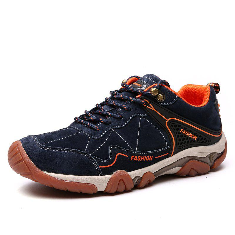 Men's Metal Button Breathable Non-slip Outdoor Sport Hiking Sneakers - MIDNIGHT BLUE 43