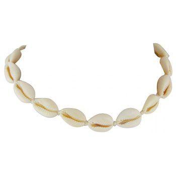 Beige Color Rope Chain with Shell Shape Choker Necklace - BEIGE