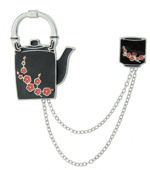 Enamel Teapot and Cup with Chain Pattern Brooches - BLACK
