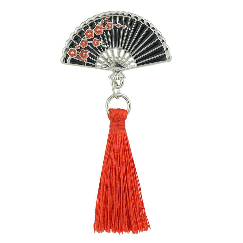 Enamel Sector Pattern Brooches with Red Tassel - BLACK