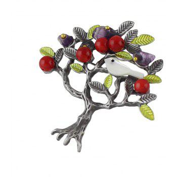 Simulated-pearl Green Enamel Bird Tree Shape Brooch - HARVEST YELLOW