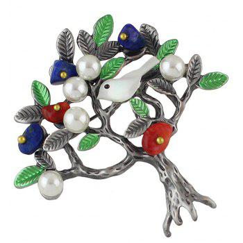 Simulated-pearl Green Enamel Bird Tree Shape Brooch - LIME GREEN