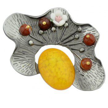 Yellow Red Green Resin Beads Flower Brooche - RUBBER DUCKY YELLOW