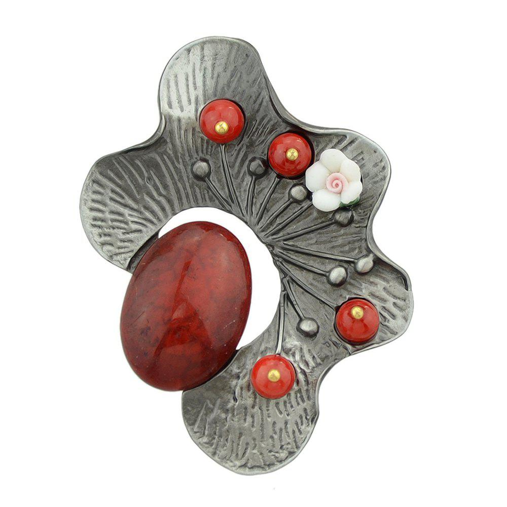 Yellow Red Green Resin Beads Flower Brooch - BURGUNDY