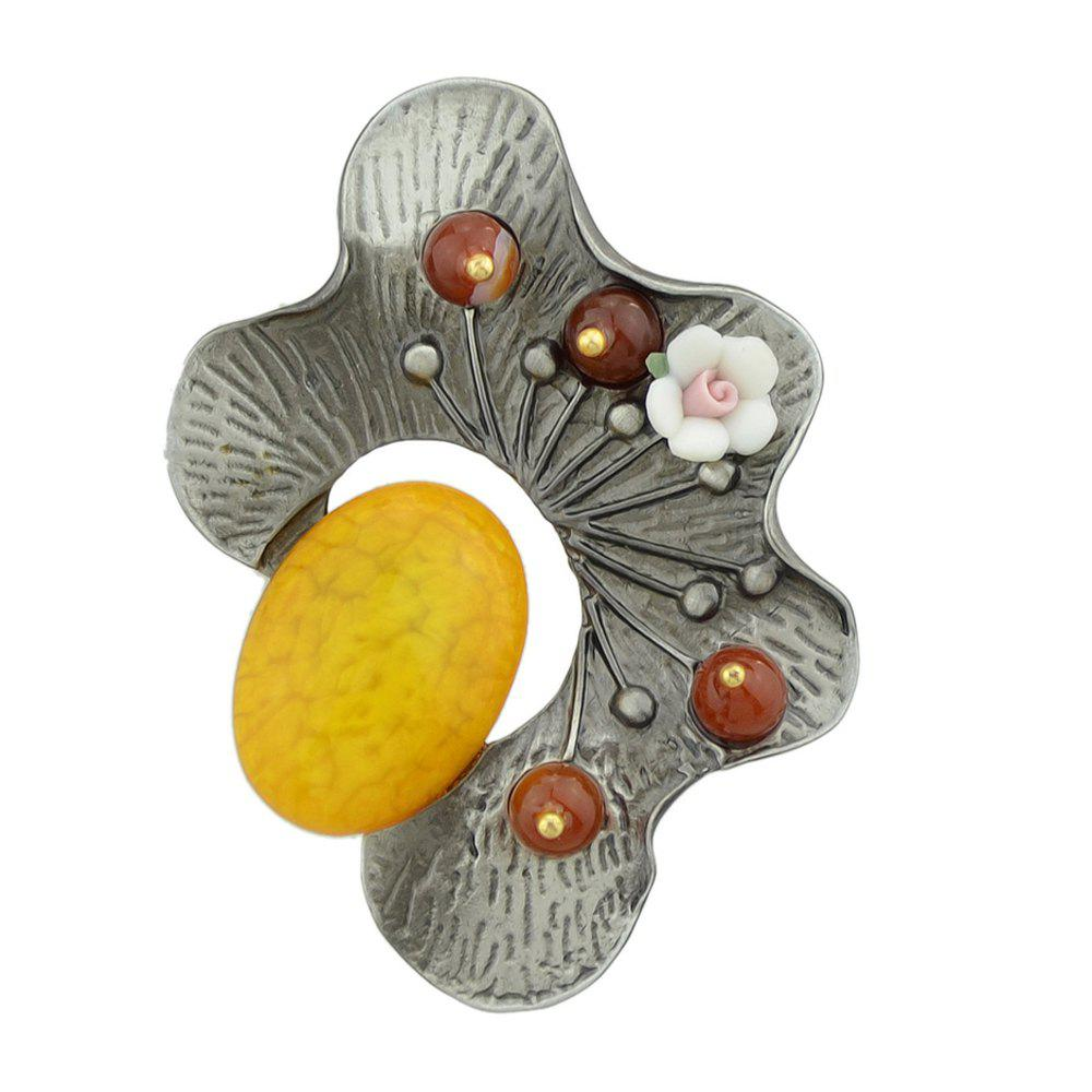 Yellow Red Green Resin Beads Flower Brooch - RUBBER DUCKY YELLOW