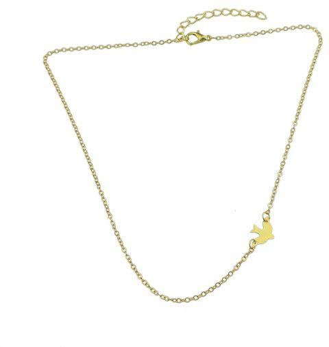 Gold-Color Silver Color Chain Bird Charm Necklace - GOLD