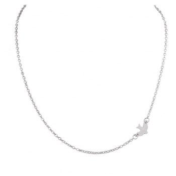 Gold-Color Silver Color Chain Bird Charm Necklace - SILVER
