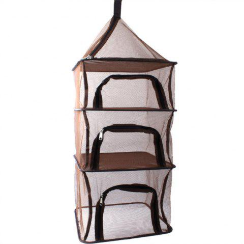 Outdoor Multi-function Four Layer Tableware Folded Net Storage Bag - LIGHT BROWN
