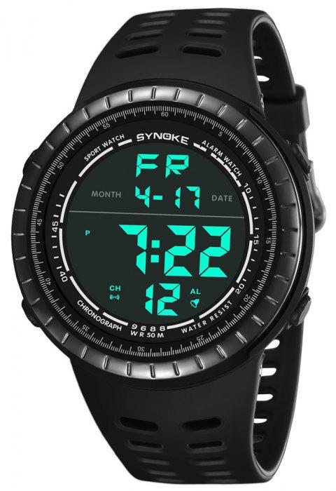 SYNOKE 9688 Outdoor Sports Student Large Dial Electronic Watch - BLACK