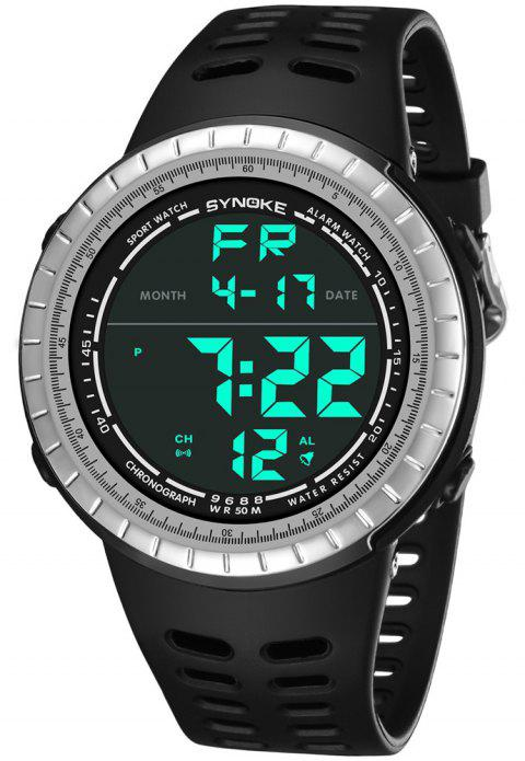 SYNOKE 9688 Outdoor Sports Student Large Dial Electronic Watch - SILVER