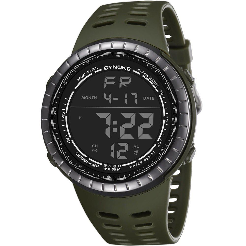 SYNOKE 9688 Outdoor Sports Student Large Dial Electronic Watch - SAGE GREEN