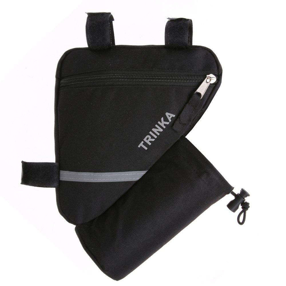 Bicycle Bag Triangle Front Tube Frame Saddle Nylon Holder Reflective Stripe With Water Bottle Pocket - BLACK