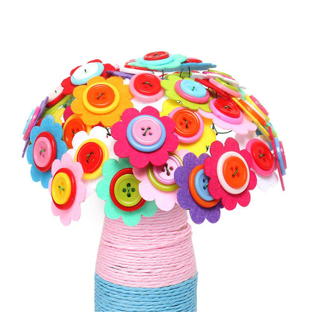 DIY Felt Button Flower Craft Kids Creative Toy - multicolor F
