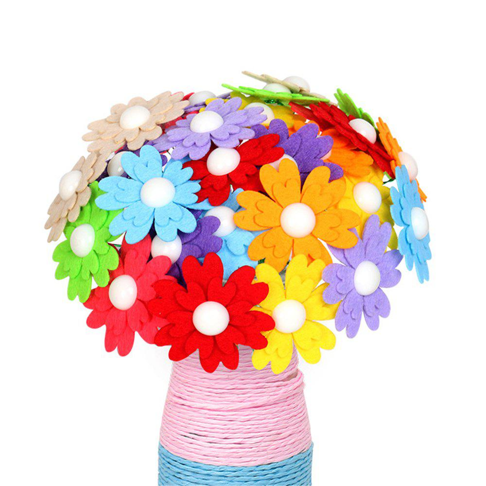 DIY Felt Button Flower Craft Kids Creative Toy - multicolor I