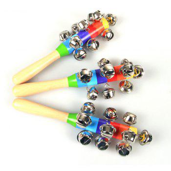 Rainbow Hand Held Bell Stick Wooden Percussion Musical Toy for Baby - multicolor