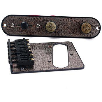 Guitar Bridge with Pickup Hole and 3 Way Switch Control Knob Plate Set - NATURAL BLACK