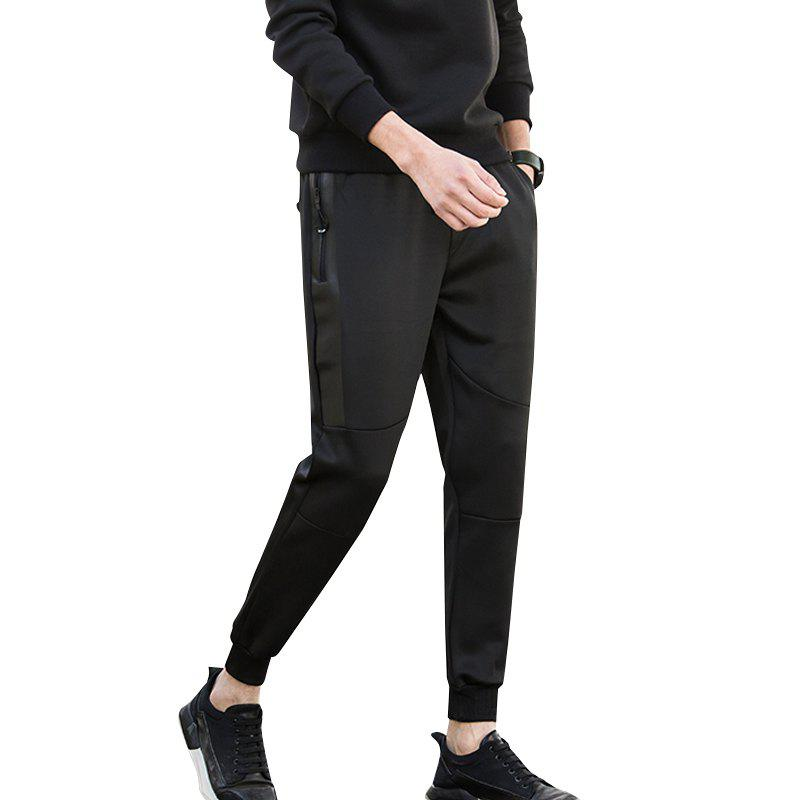 Jogging Pants with Zipper Pockets Pants - BLACK M