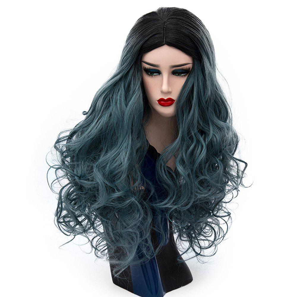 Long Curly Dark Roots Light Blue Wig for Women Cosplay Heat Resistant 29 inch - MARBLE BLUE