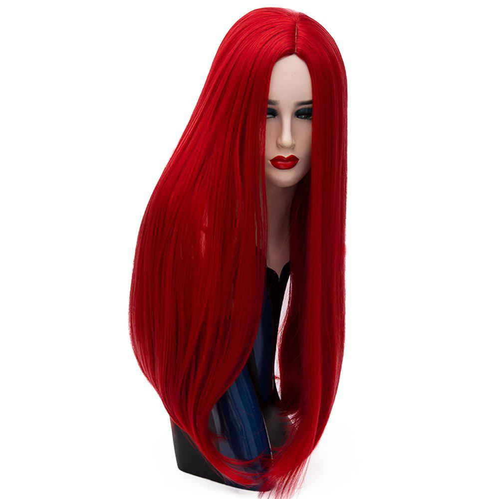 Long Straight Red Wig High Temperature for Women Cosplay Party Costume 26 inch free ship gou matsuoka long wine red women style anime cosplay wig one ponytail 370f
