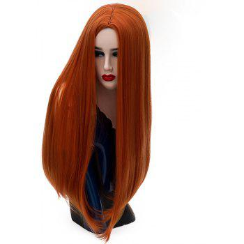 Women's Long Straight Orange Wig High Temperature Cosplay Party Costume 26 inch - RED FOX