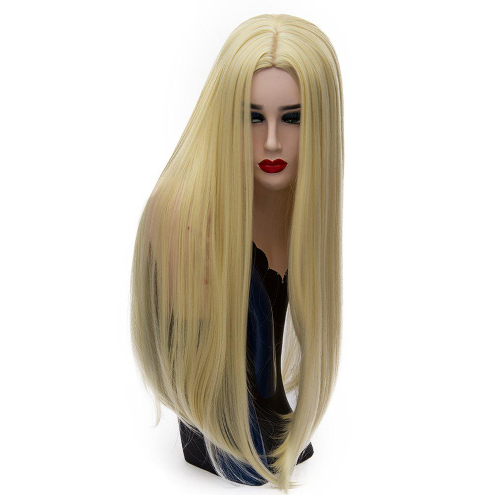 Long Straight Light Gold Wig High Temperature for Women Cosplay Costume 26 inch - BRIGHT YELLOW