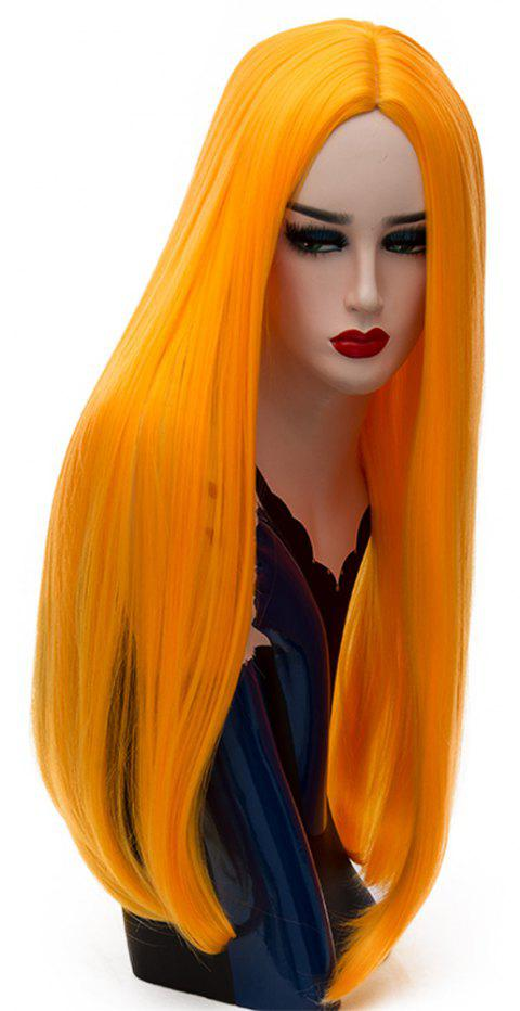 Long Straight Orange Wig High Temperature for Women Cosplay Party Costume 26 inch - CANTALOUPE