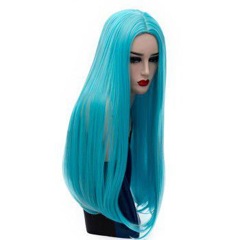 Long Straight Blue Wig High Temperature for Women Cosplay Party Costume 26 inch - BLUE DIAMOND