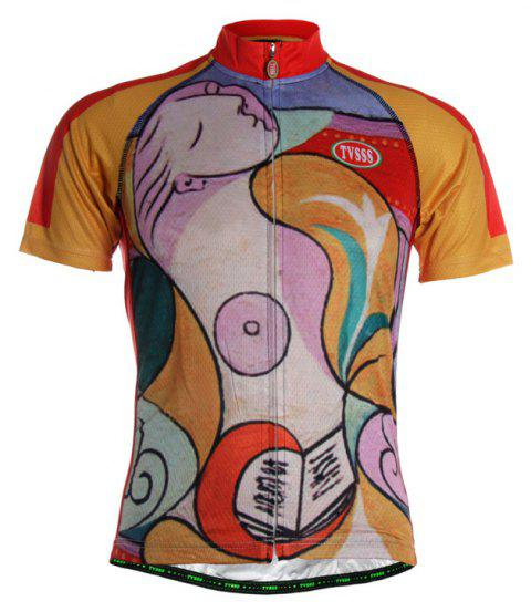 TVSSS Men Summer Character Art Style Short Cycling Jersey T-Shirt - multicolor M