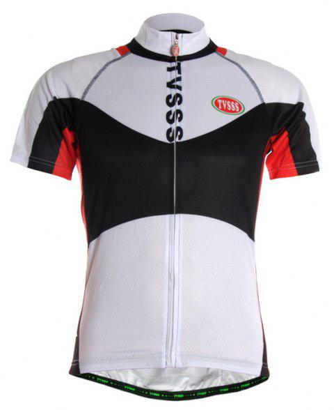 TVSSS Men Summer Black and White Mix Simple Short-Sleeved Riding Sportswear - WHITE 4XL