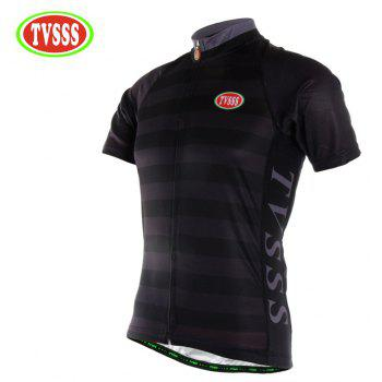 TVSSS Men Summer Black Striped Short Cycling Jersey Sportswear - BLACK 3XL
