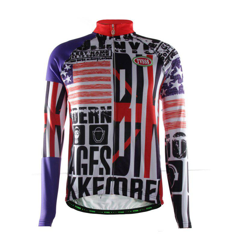 TVSSS Men Winter UK Flag Pattern Long Sleeve Cycling Sportswear - multicolor 2XL