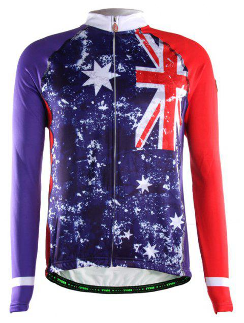TVSSS Men British Flag Pattern Winter Long Sleeve Jersey Sportswear - multicolor M