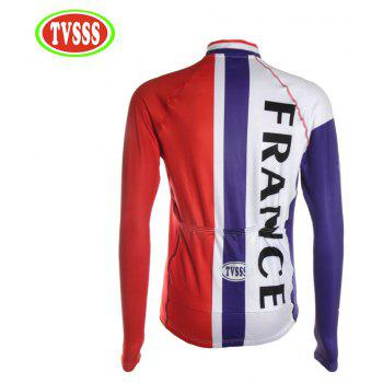 TVSSS Men Winter Long Sleeve French Flag Pattern Mountain Bike Sportswear - multicolor L