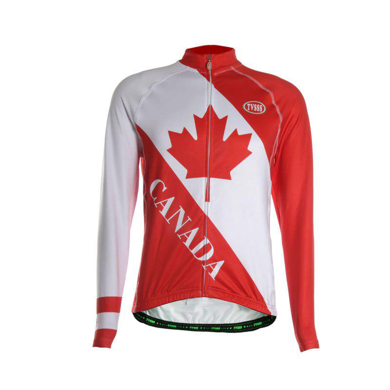 TVSSS Men Winter Long Sleeve California Flag and Maple Pattern Bike Sportswear - multicolor M