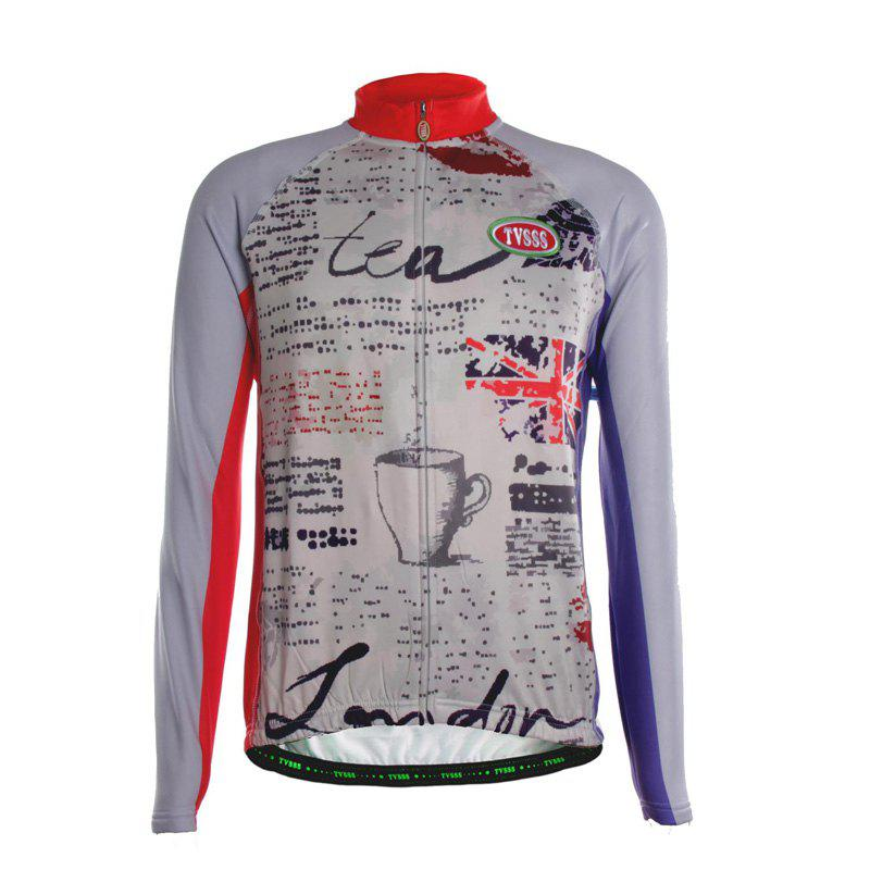 TVSSS Men Winter Long Sleeve British Style Cycling Jersey Sportswear - multicolor L