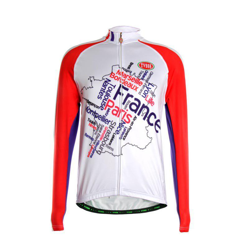 TVSSS Men Winter Long Sleeve Map Pattern Warm Cashmere Cycling Sportswear - multicolor XL