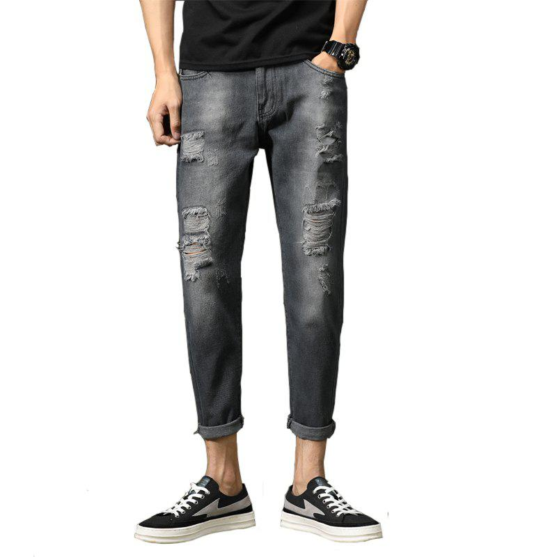 simple Fashion Trend Men Ripped Jeans - DARK SLATE BLUE 38