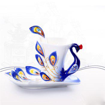 Hand Crafted Ceramic Porcelain Enamel Graceful Peacock Coffee Cup - BLUE