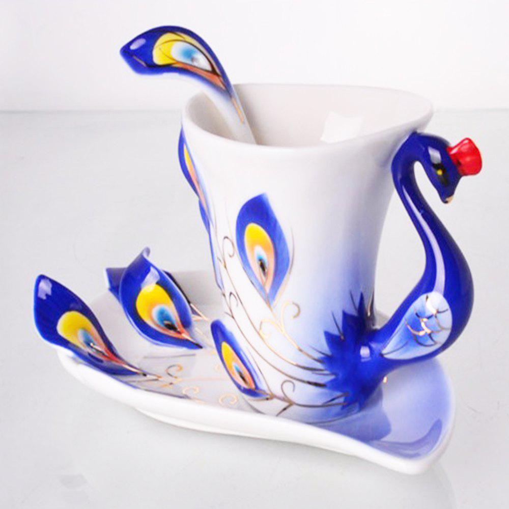 Hand Crafted Ceramic Porcelain Enamel Graceful Peacock Coffee Cup