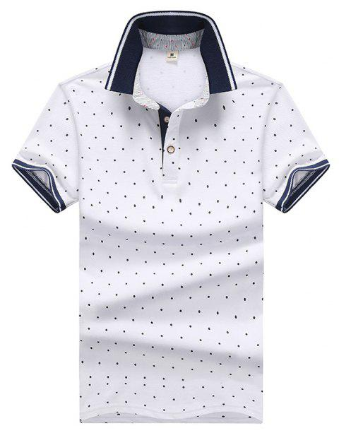 6ea5d8be4e 2019 Men Dot Print Short Sleeves Shirt In WHITE L