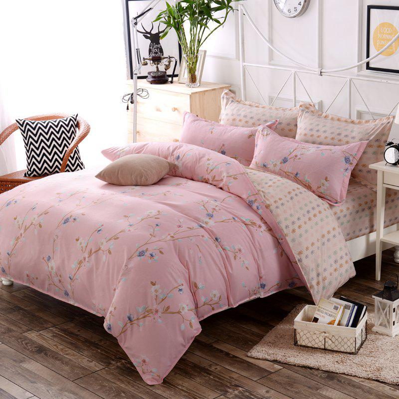 Chic Sweet Pink Floral Pattern Cosy Bedsheet Set - PINK TWIN