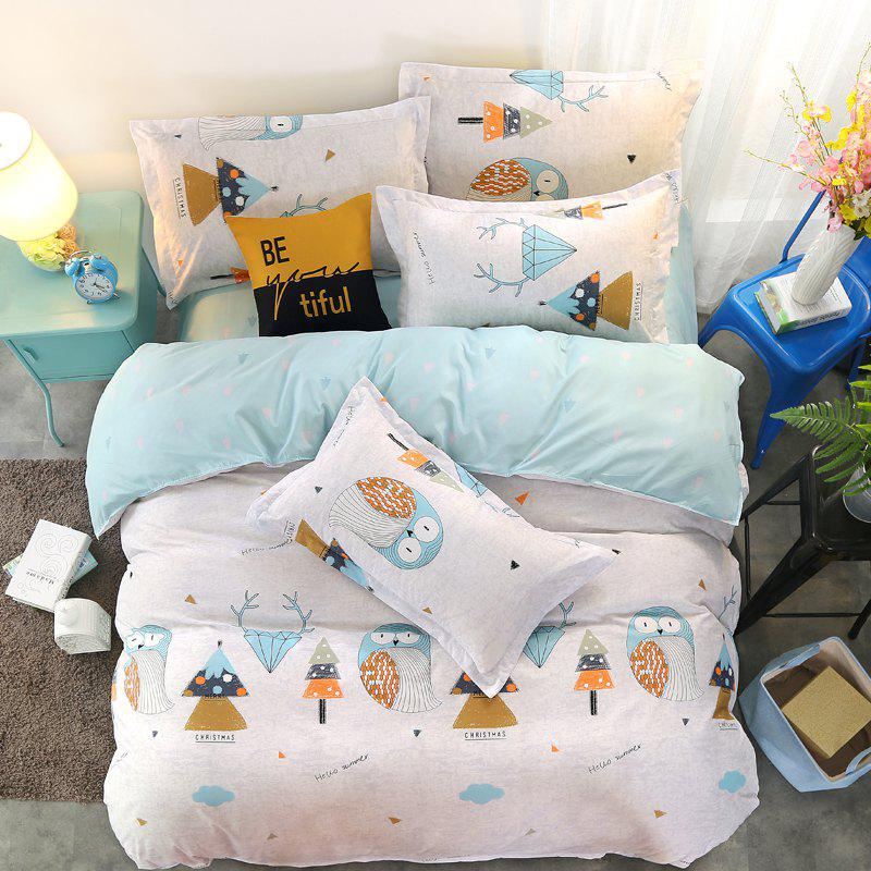 Modern Cartoon Design Soft Comfy Home Bedding Set - LIGHT BLUE EURO KING