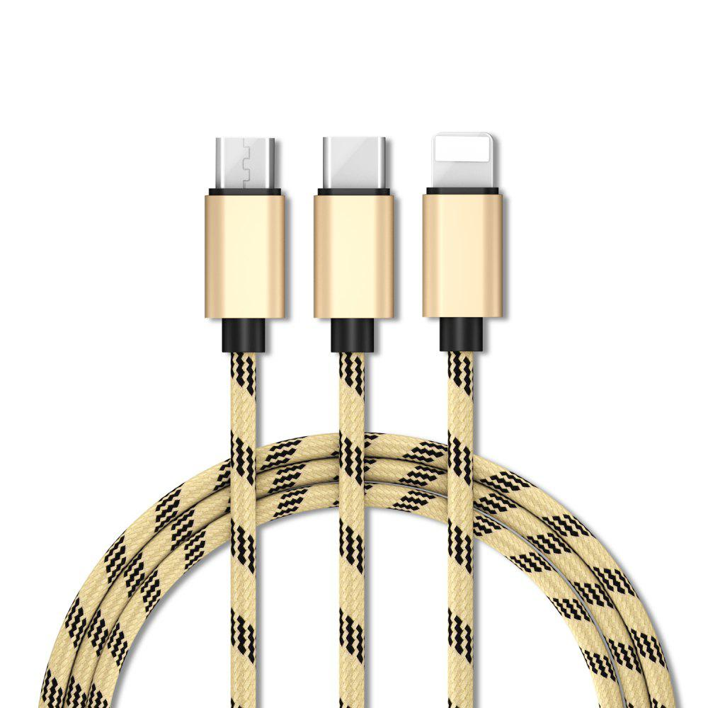 Multi-Function Data Cable Suitable for IPhone6+Micro+Type-C Interface - GOLDEN BROWN