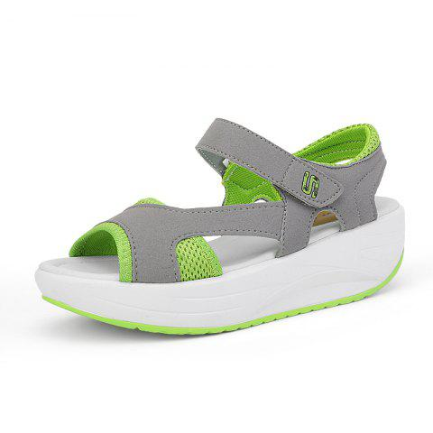 Platform Sandals Hollow Out Comfy Soft Shoes - GREEN 38
