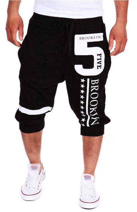 Men's Fashion New Lettering Design Casual Shorts - BLACK L