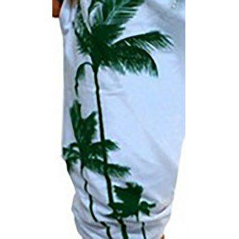 Men's Casual Digital Printed Coconut Pattern Slim Shorts - WHITE M